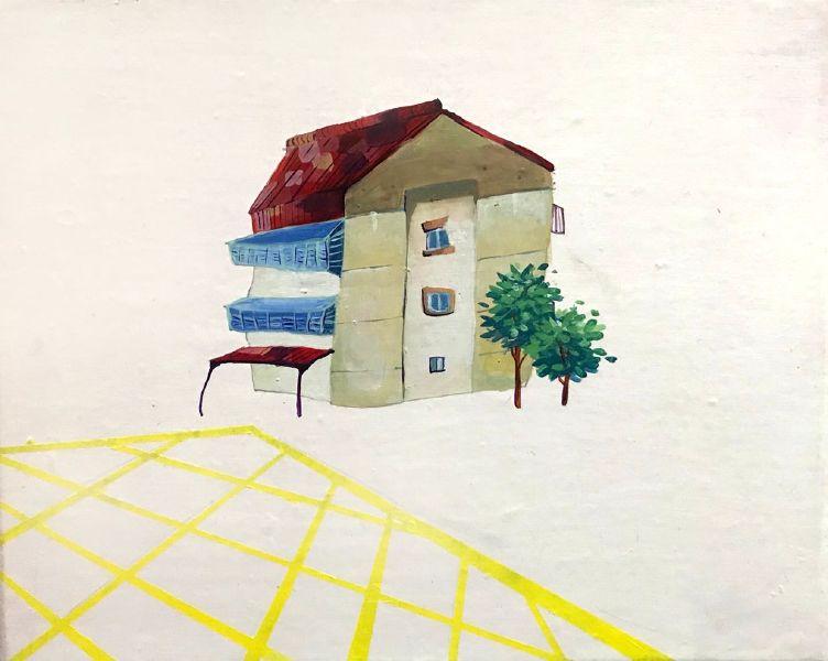 王以辰-黃色網狀線上的家屋