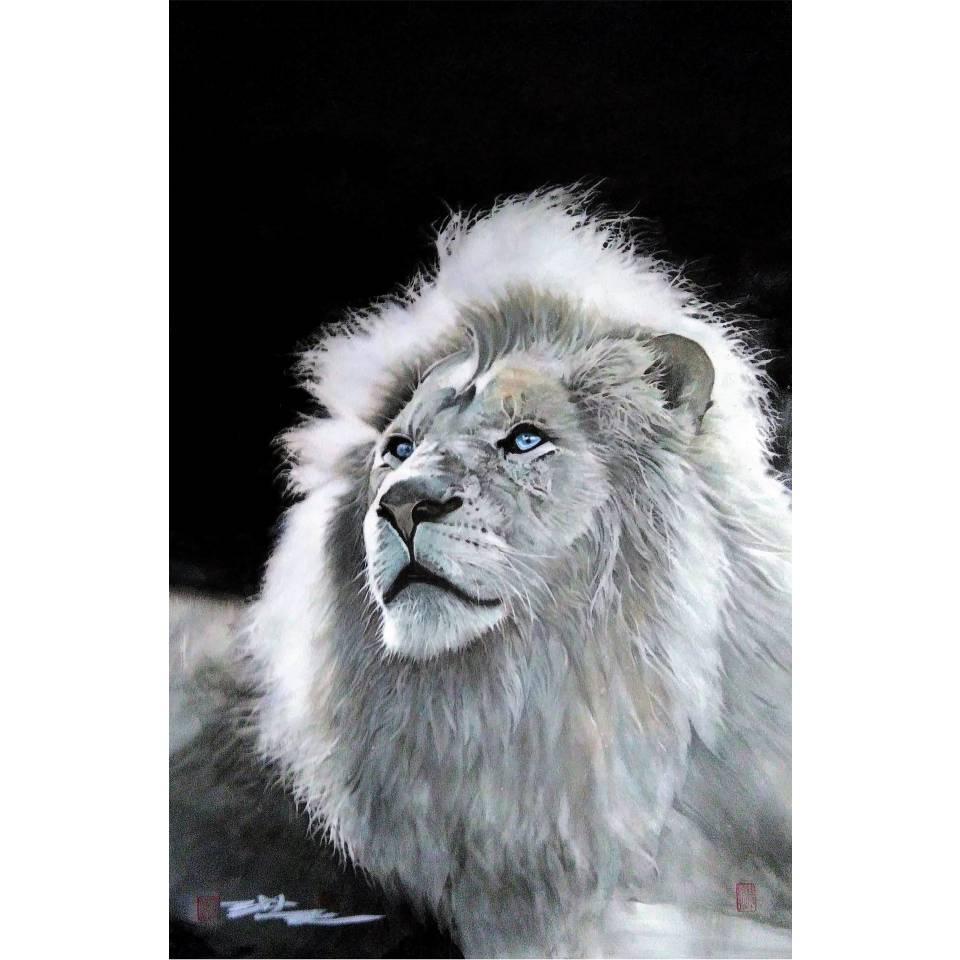 《獅王》複合媒材,紙本_73x112cm_2019