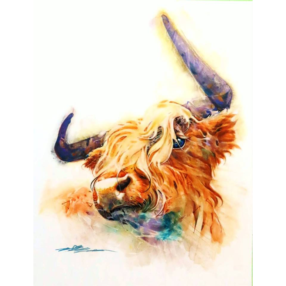 《牛運當頭》複合媒材,紙本_64x84cm_2021