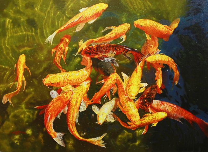 林嶺森-水光錦鯉之三 Kois