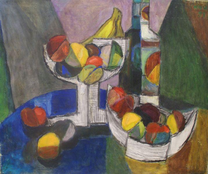 侯錦郎-水果與白藍瓶 Fruits and Bottle