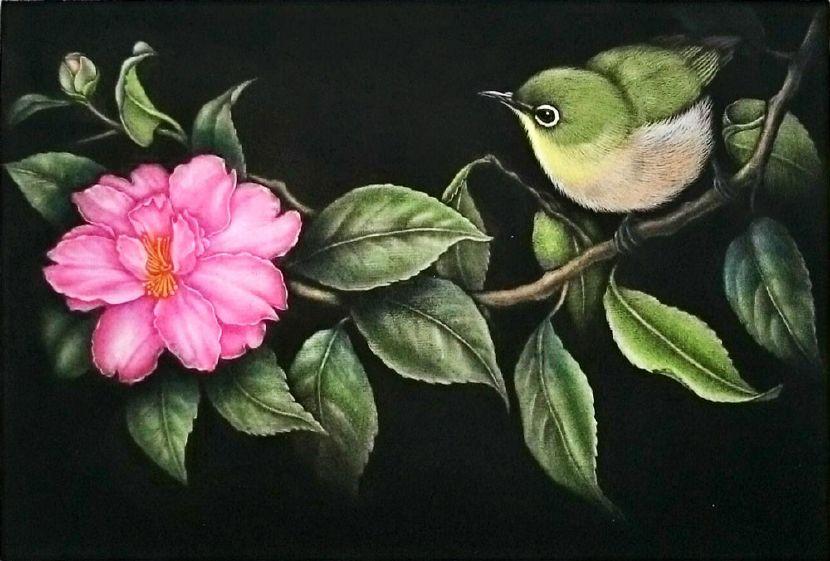 生田宏司-山茶花上的繡眼鳥