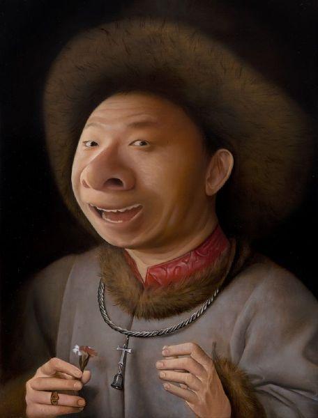 盧昉-拿石竹花的大鼻子 Portrait of Mr. Big Nose with Carnation