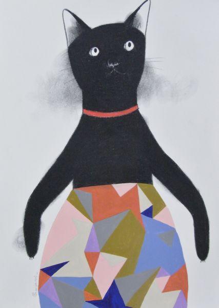 宮城勝規-穿碎花褲的黑貓 Fractale Black Cat (Drawing)