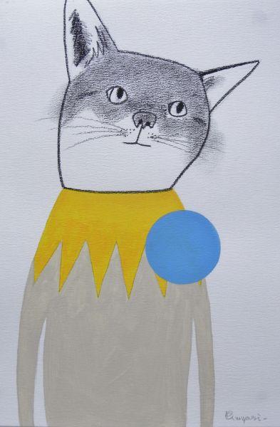 宮城勝規-淺藍點的貓 Light Blue Circle Cat (Drawing)