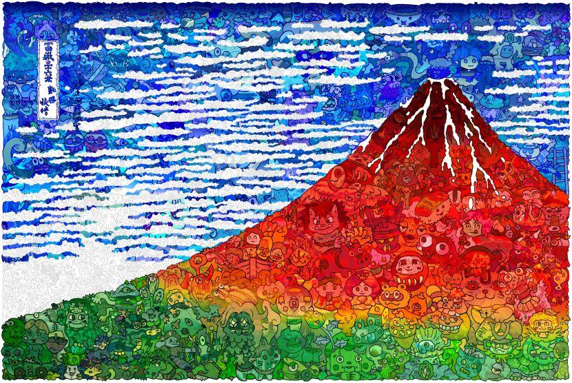 佐垣慶多-(含框)浮世繪-紅富士山:凱風快晴《富嶽三十六景》Red Fuji: Fine Wind, Clear Morning -99 Lucky Charms (12,13,15,18/36)