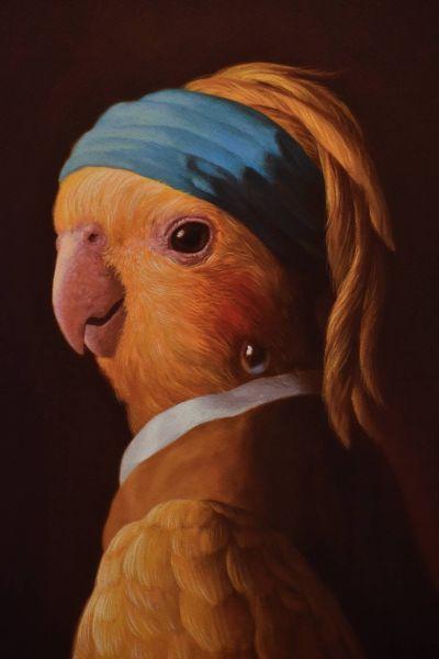 詹喻帆-戴珍珠耳環的鸚鵡少女 Parrot Girl with a Pearl Earring
