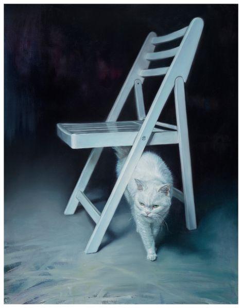 林宏信-白色的椅子和貓 White Chair & Cat