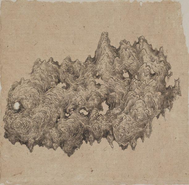 白雨-皺漏奇石圖 Crumpled, Perforated Rare Stone