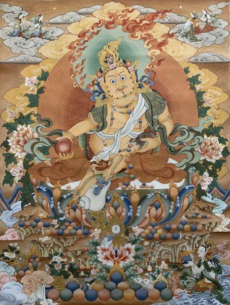 Gyempo Wangchuk 金寶.旺楚克-God of Wealth 黃財神唐卡