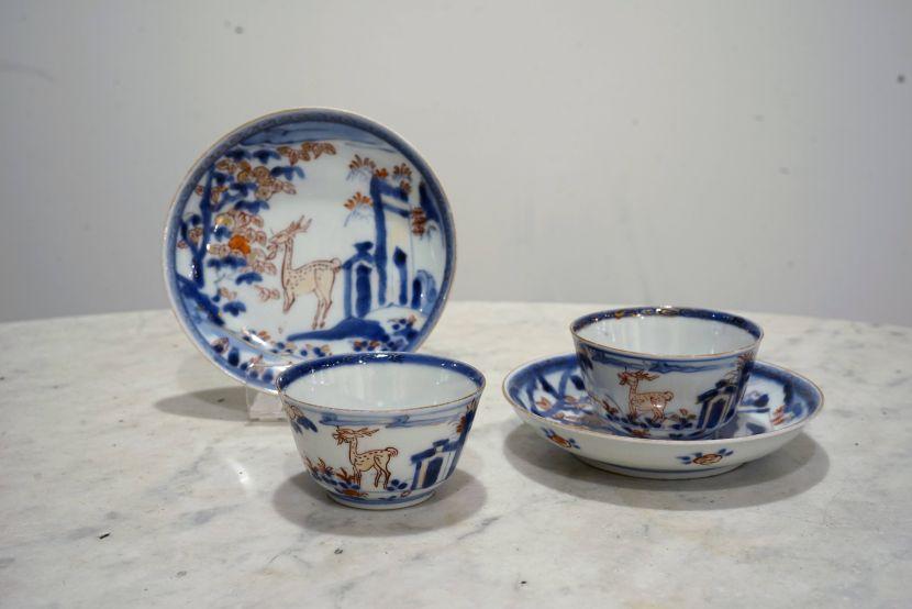 瓷器-描金青花鹿紋瓷杯組
