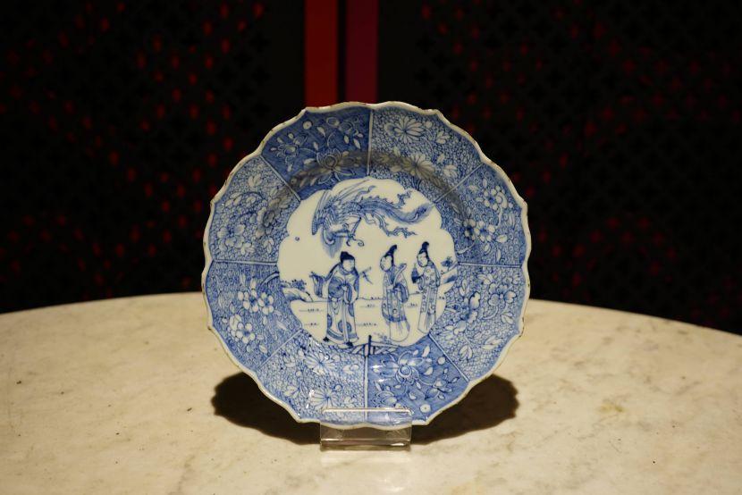 瓷器-青花花邊文人紋瓷盤