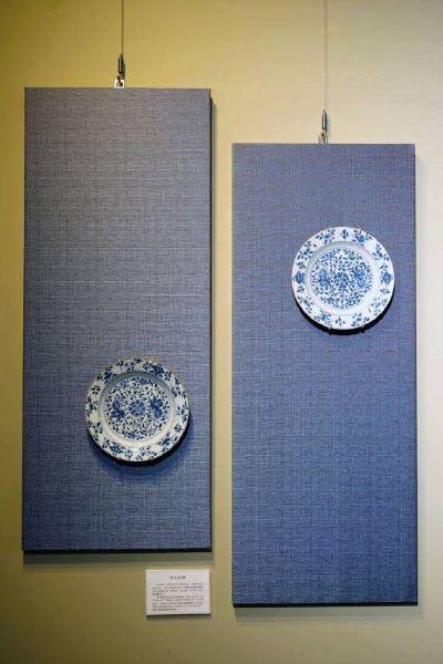 瓷器-青花折沿盤一對