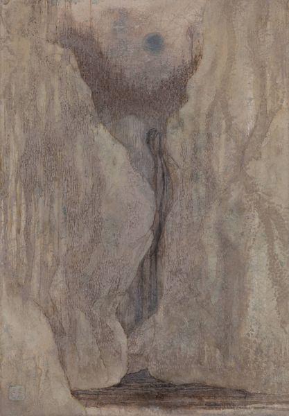 林靖子-月夜.流水潺潺-綠 Babbling Brook in aMoon Night – Green