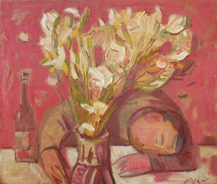 弗拉基米爾.諾山-鳶尾花和水仙,紅酒|Irises and Narcis. Cabernet Sauvignon