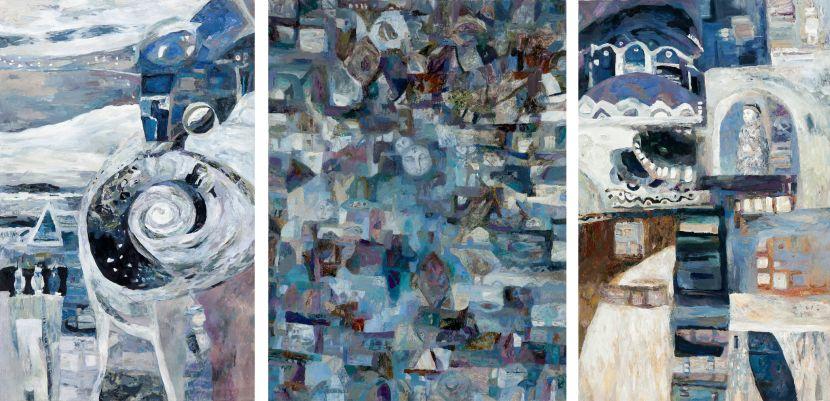 薩芬娜.克謝妮亞-構圖 – V 三聯畫 構圖 – V- 反射(左) 構圖 – V – 表現(中) 構圖 – V – 轉變(右)|Composition – V -Triptych Composition – V ''Reflection'' (Left) Composition -V ''Manifestation'' (Middle) Composition – V'Transform'' (Right)