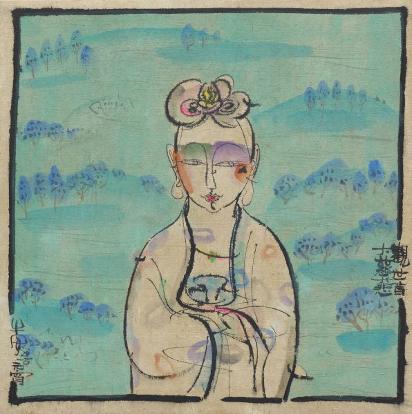 牛安-Buddha with landscape - Green GSY