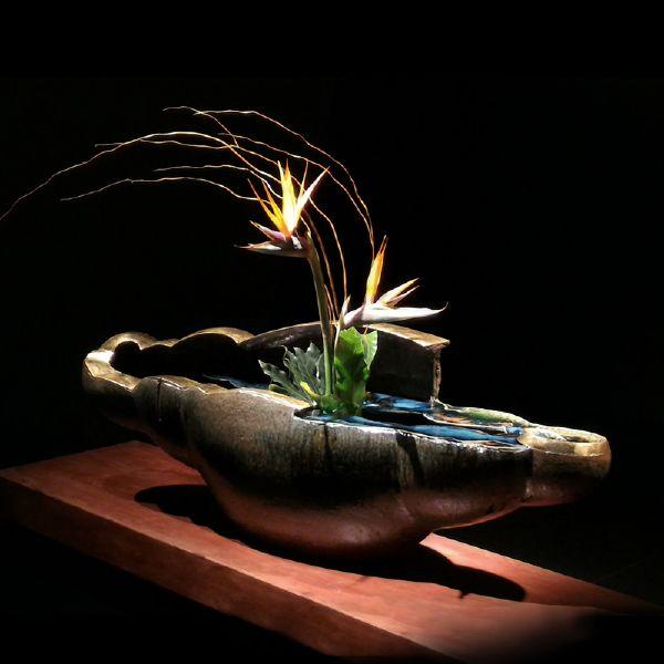 劉榮輝-織部釉金邊花器