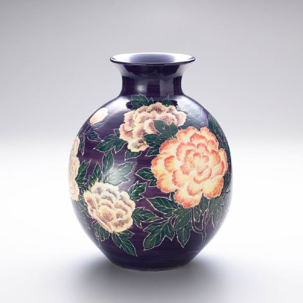 蘇世雄-雕釉紫藍底牡丹花紋瓶