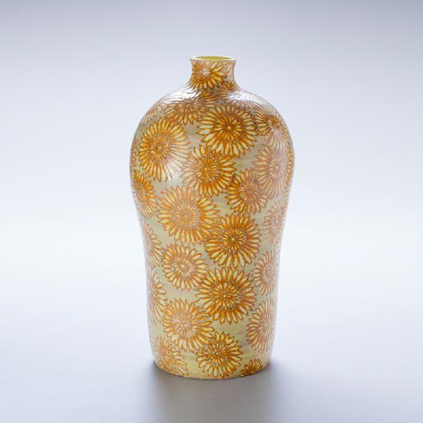蘇世雄-雕釉黃底菊花紋梅瓶