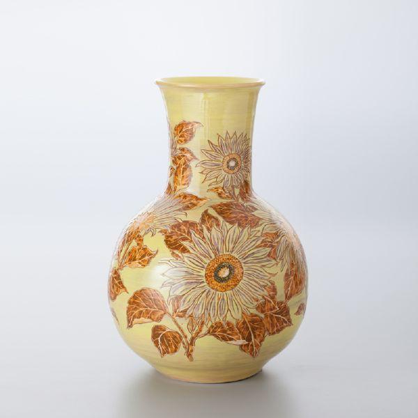 蘇世雄-雕釉黃底太陽花紋天球瓶