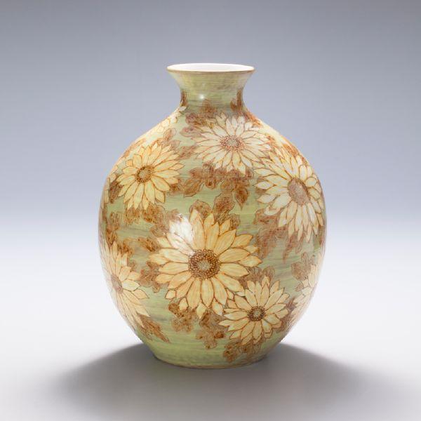 蘇世雄-雕釉黃底菊花紋瓶