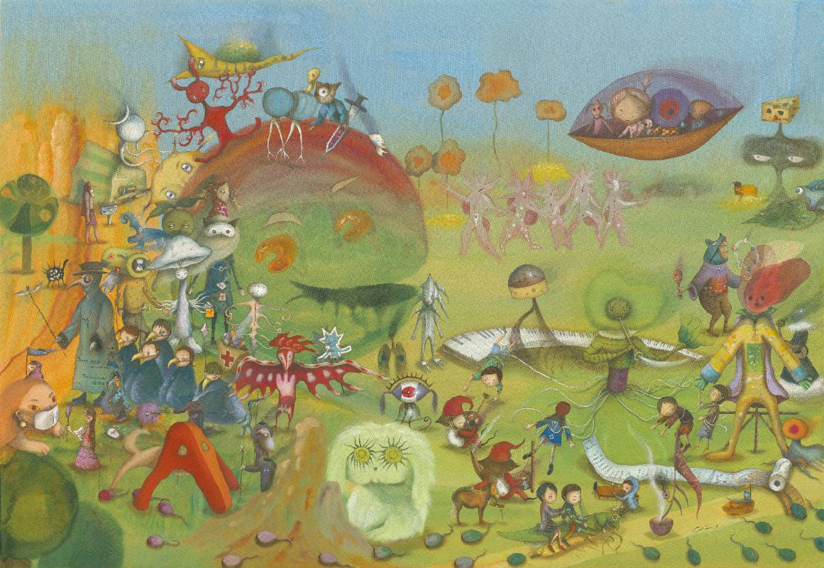 中原千尋,綠色使者的歷遊記,112x162cm,壓克力彩、畫布,2020。