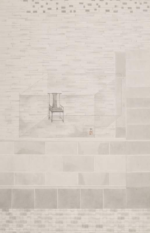 葉帆,歸處1,70x45cm,水墨紙本,2018。