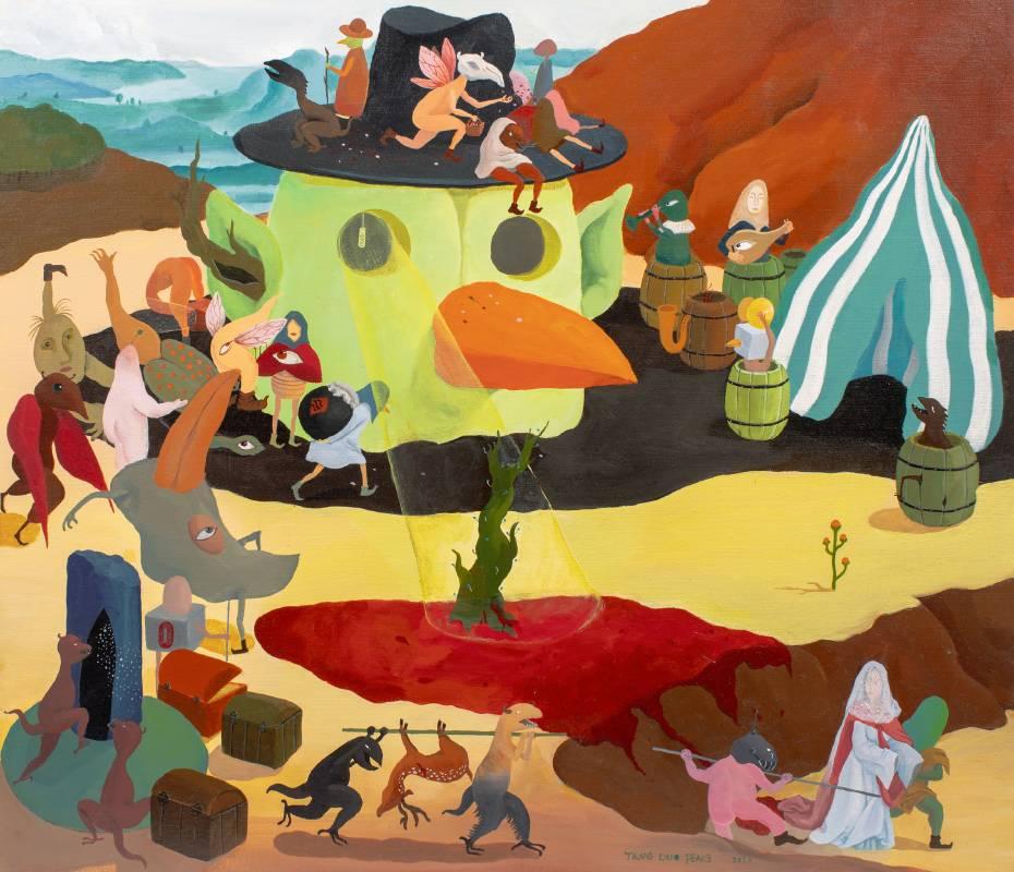 唐多鵬,惡魔的婚禮,60x70cm,壓克力彩畫布,2020。