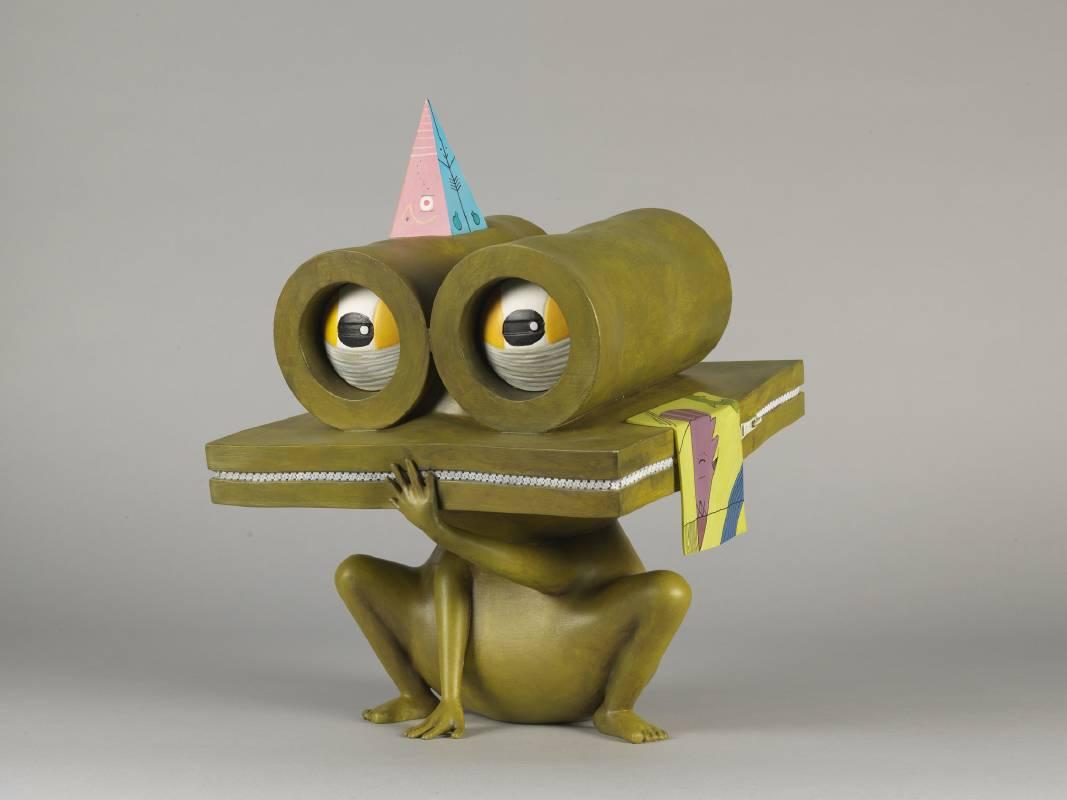 中原千尋,Intelligent Frog-Chuck,36.5x27x27cm,樹脂、複合媒材、壓克力手工上色,2018。