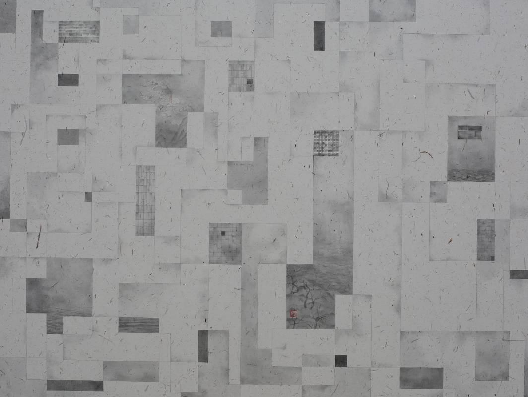 葉帆,小徑花園‧1,60x80cm,水墨紙本,2019。
