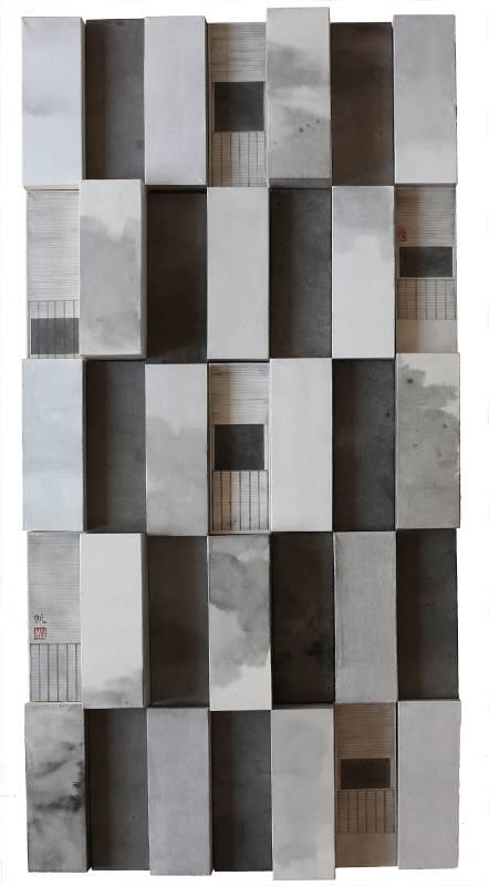葉帆,天空之城‧1,70x35cm,水墨紙本,2019。