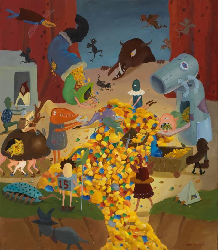 唐多鵬,金色的狂歡,60x70cm,壓克力彩畫布,2020