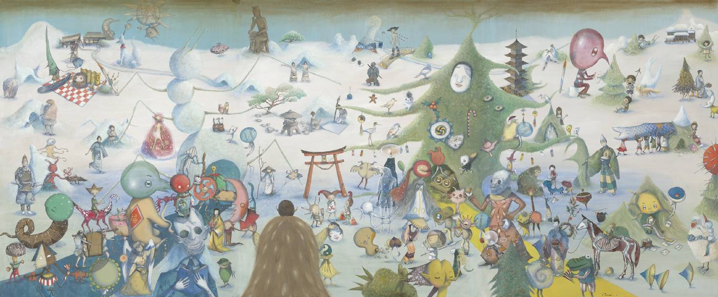 雪人與聖誕樹的奇譚 / 162x390.9cm / 壓克力彩畫布 / 2018-2019
