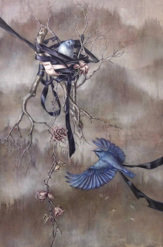 蔡函庭 / 幸福的青鳥VIII:巢 / 91 x 60.5cm / 油畫畫布 / 2018