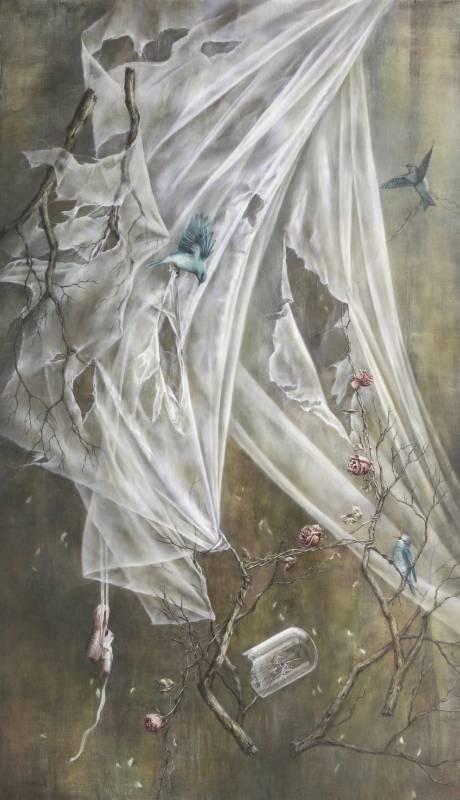 蔡函庭 / 幸福的青鳥III:生命痕跡 / 194 x 112cm / 油畫畫布 / 2018