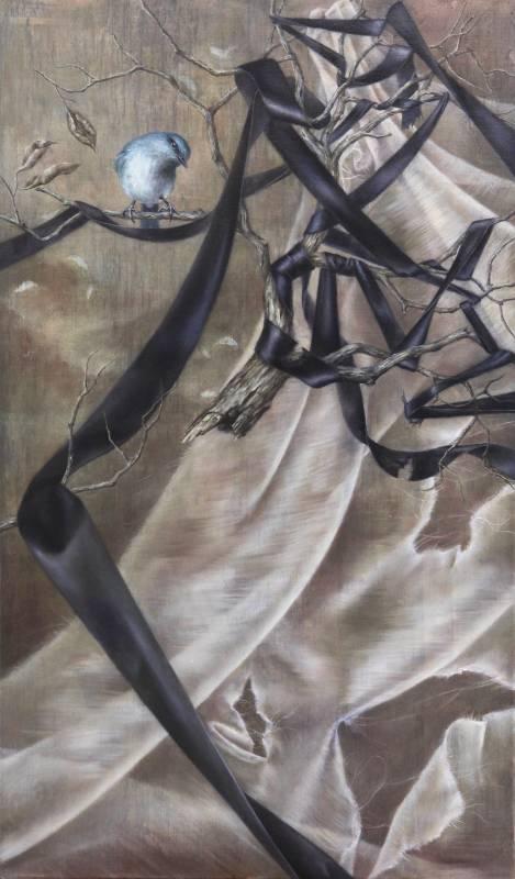 蔡函庭 / 幸福的青鳥VII:纏 / 72.5 x 43cm / 油畫畫布 / 2018