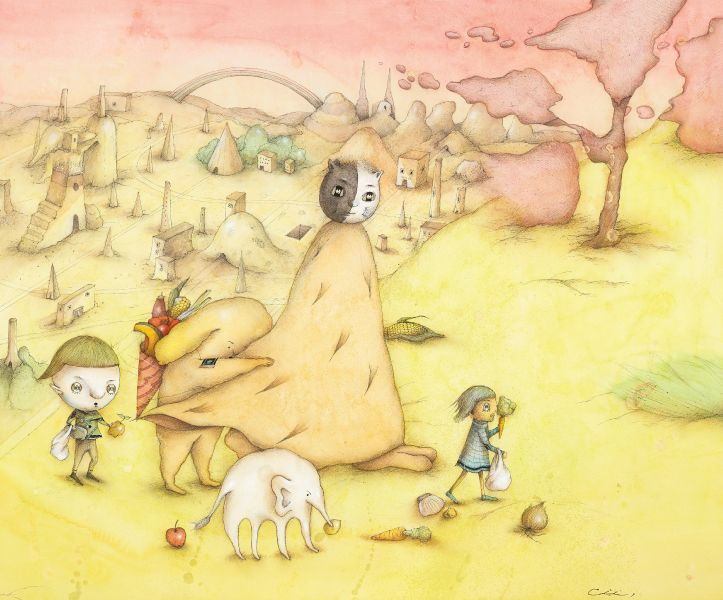Chihiro Nakahara-Cat Tent Walking Under the Sky