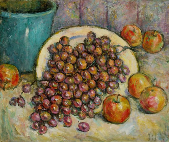 胡善餘 - 藍花盆與葡萄,1989