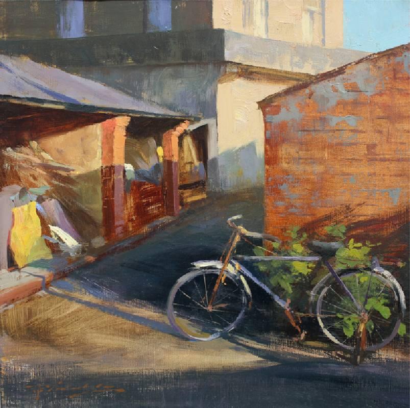 標題:爺爺的腳踏車尺寸:30.5*30.5 cm 年代:2018    材質:油畫/布