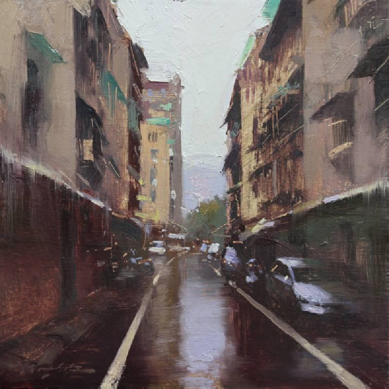 標題:街巷印象 1尺寸:20.3*20.3 cm 年代:2019    材質:油畫/ 畫板