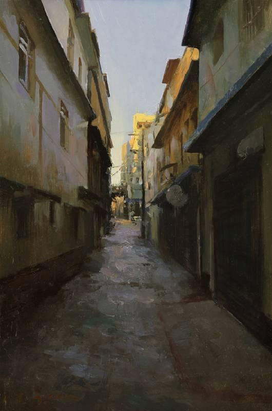 標題: 空巷尺寸:45.7*30.5 cm 年代:2017    材質:油畫/ 畫板
