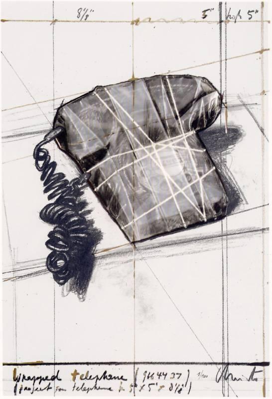 克里斯妥  Wrapped Telpjone 56X38cm 複合式板畫1988