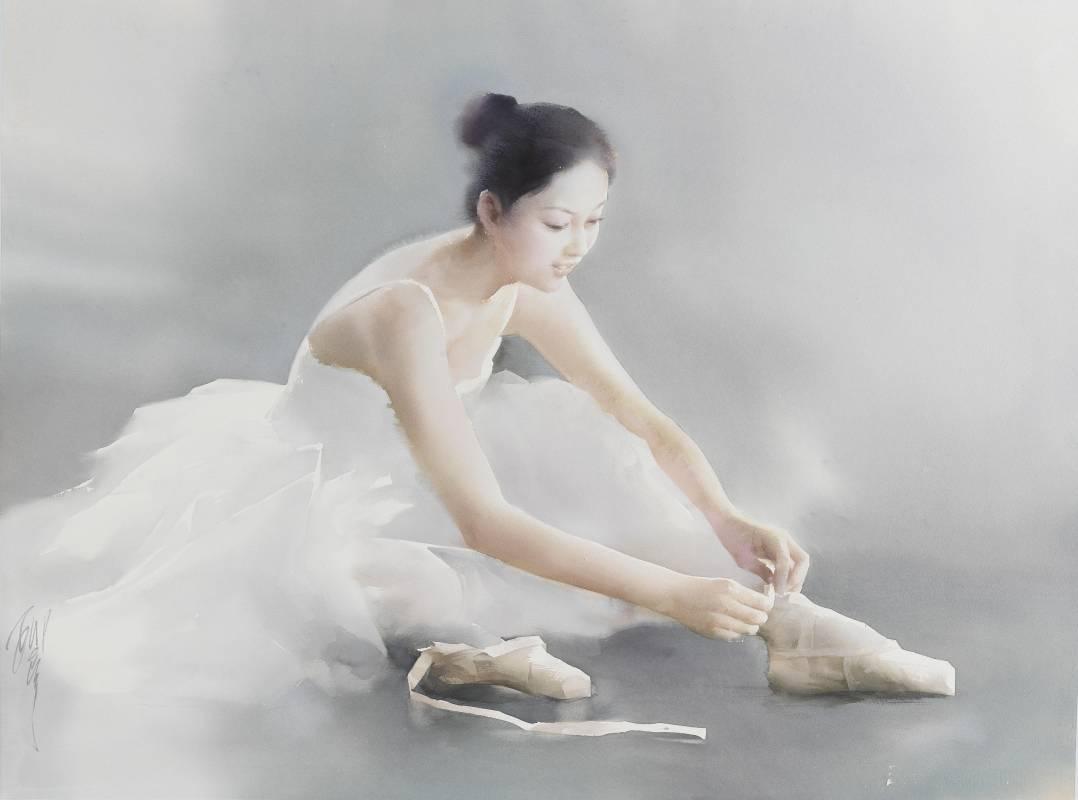 藝術家:柳毅  標題:演出前  尺寸:57.5 * 76.5 cm 年代:2007    材質:水彩/紙