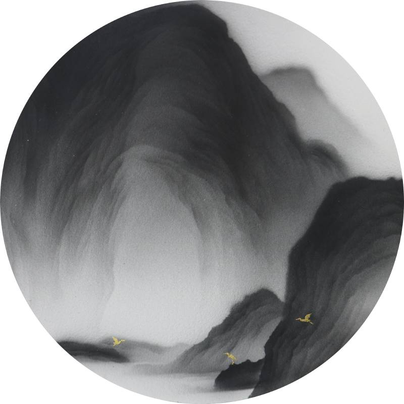 藝術家:呂浩維  標題: 返山日記 圓板 No.31  尺寸:直徑:21cm  年代:2021    材質:紙本水墨設色