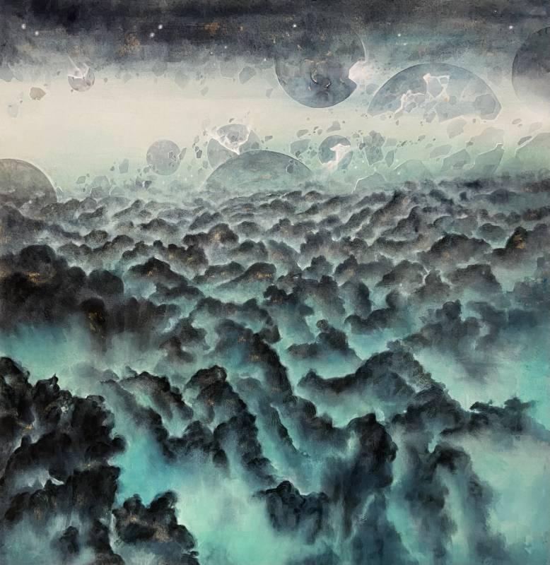 藝術家:陳昀翊  標題:雲端之上  尺寸:70*68cm  年代:2021    材質:紙本水墨設色