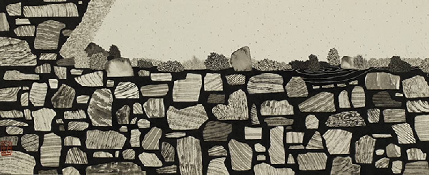 藝術家:邱奕寧  標題:大理石公園 I 尺寸: 22.5 * 54.5 cm  材質:紙本水墨設色  年代:2021