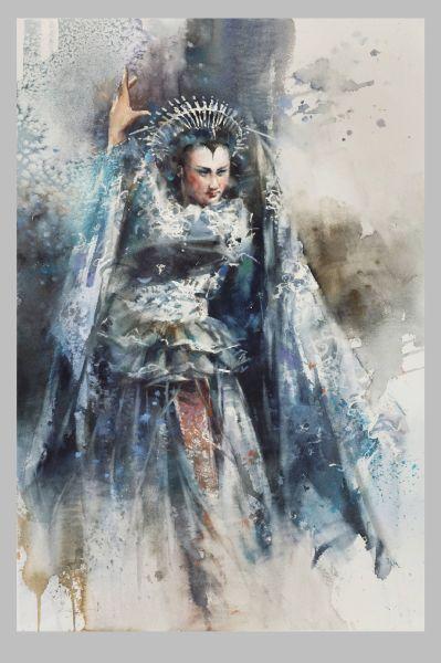 Chang Ku Cheng-水彩西洋歌劇人物《魔笛》夜后