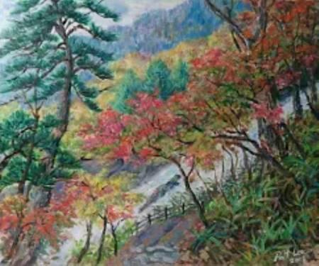 李芳時-紅楓飛瀑