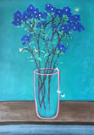 秀子-粉瓶小藍花